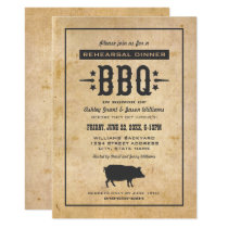 Rehearsal Dinner BBQ | Rustic Black Pig Invitation