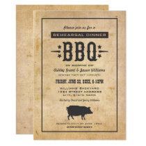 Rehearsal Dinner BBQ | Rustic Black Pig Invitation