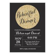 Rehearsal Dinner Black and Gold Glitter Invitation