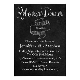 Rehearsal Dinner Black Chalkboard Mr & Mrs Wedding Card