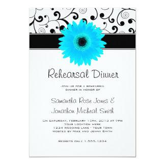 Rehearsal Dinner Blue Gerbera Daisy Black Scroll Card