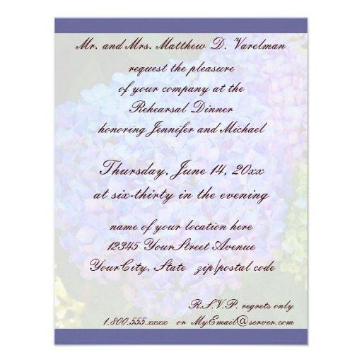 Rehearsal Dinner Blue Hydrangea Custom Invitations