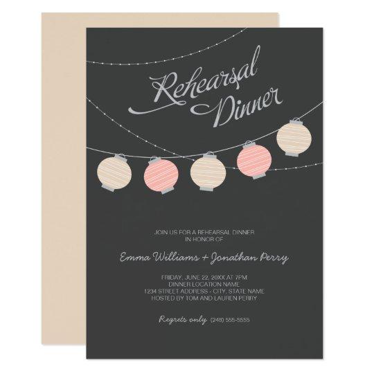 Rehearsal Dinner | Blush Pink Paper Lanterns Card