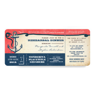 rehearsal dinner boarding pass-tickets with RSVP Card