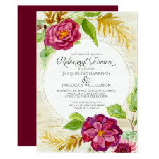 Rehearsal Dinner BOHO Burgundy Floral Fall Roses Invitation