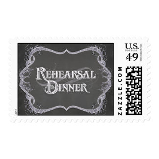 Rehearsal Dinner Chalkboard Typographic Leaf Swirl Stamps