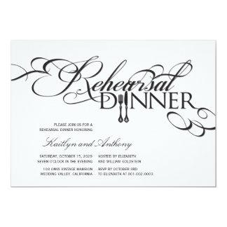 "Rehearsal Dinner Classic Scrolls Wedding Invite 5"" X 7"" Invitation Card"