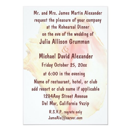 Rehearsal Dinner Conch Shell Design Card