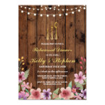 Rehearsal Dinner Cutlery Gold Lights Wood Invite