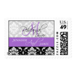 Rehearsal Dinner Damask Initial Lavender Postage