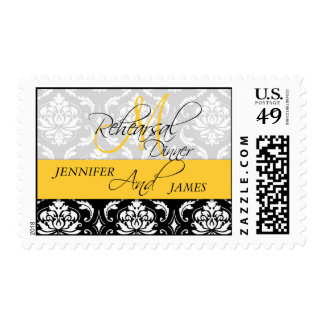Rehearsal Dinner Damask Initial Yellow Postage