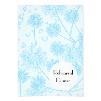 Rehearsal Dinner - Dandelion Plants - Pale Blue Card