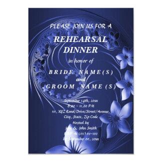 Rehearsal Dinner - Dark Blue Abstract Flowers Card
