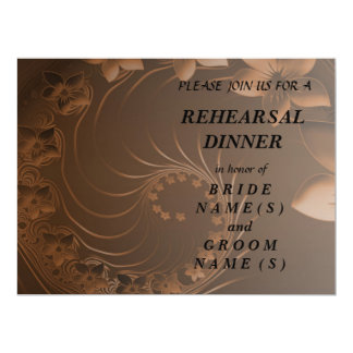 Rehearsal Dinner - Dark Brown Abstract Flowers 6.5x8.75 Paper Invitation Card