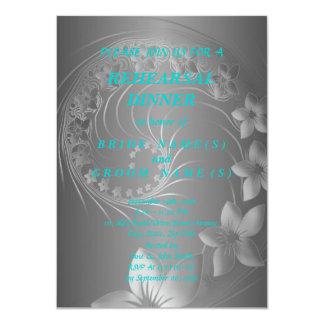 Rehearsal Dinner - Dark Gray Abstract Flowers Card