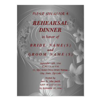 Rehearsal Dinner - Dark Gray Abstract Flowers 5.5x7.5 Paper Invitation Card