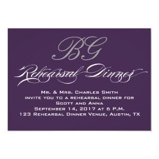 Rehearsal Dinner | Dark Purple Grey Initials Personalized Announcement