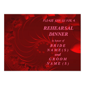 Rehearsal Dinner - Dark Red Abstract Flowers Card