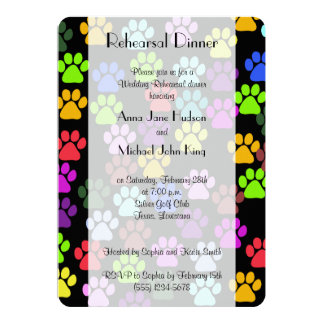 Rehearsal Dinner - Dog Paws, Paw-prints - Red Blue Card