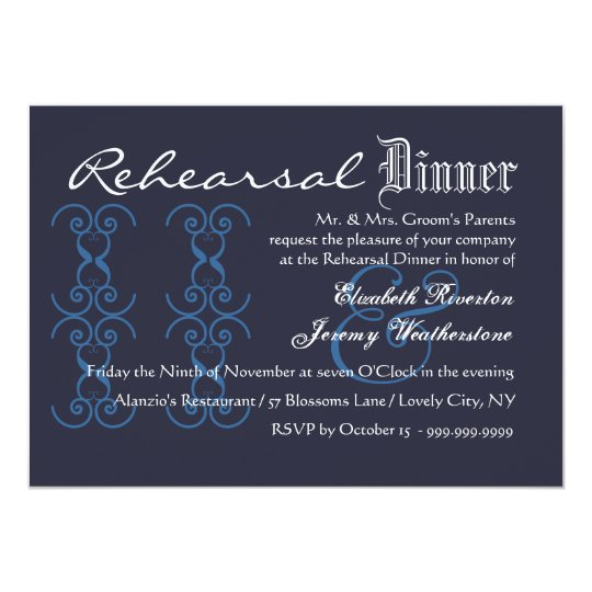 Rehearsal Dinner Eat Drink Get Married Navy White Card