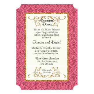 Rehearsal Dinner  Faux Gold Glitter Damask Pattern Card