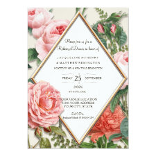 Rehearsal Dinner Floral Vintage Diamond Rose Gold Invitation
