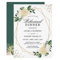 Rehearsal Dinner Gold Glitters Greenery Floral Invitation