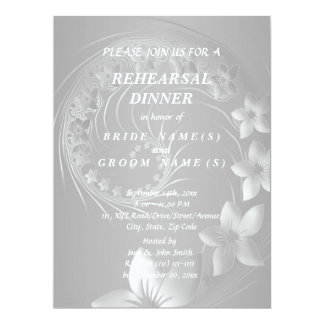 Rehearsal Dinner - Gray Abstract Flowers Card
