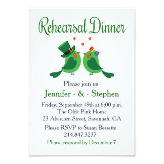 Rehearsal Dinner Green And White Lovebirds Card