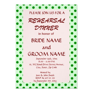Rehearsal Dinner-Green Polka Dots, Pink Background Card