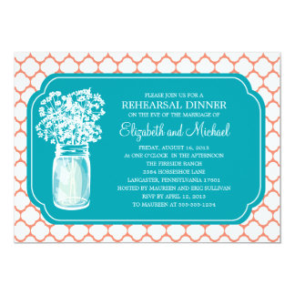 Rehearsal Dinner Honeycomb Mason Jar Wildflowers Card