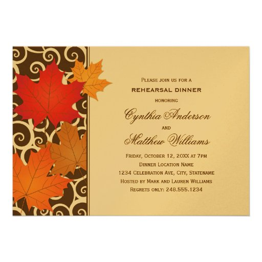 Rehearsal Dinner Invitation   Autumn Fall Theme