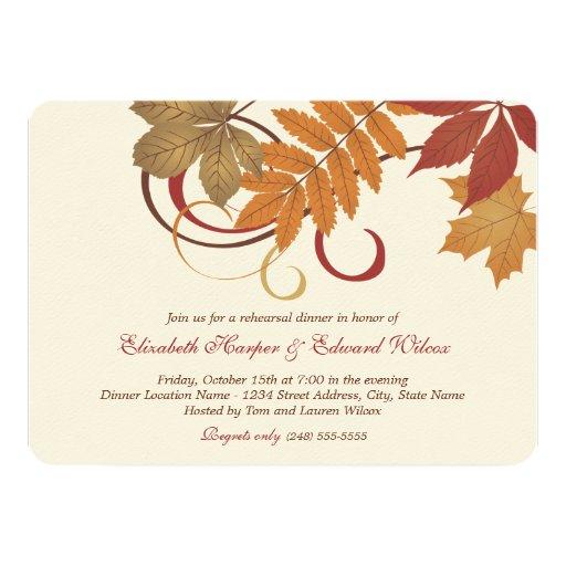 "Rehearsal Dinner Invitation Autumn Fall Theme 4.5"" X 6.25"" Invitation Card"
