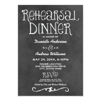 Rehearsal Dinner Invitation | Black Chalkboard