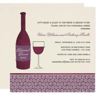 Rehearsal Dinner Invitation | Burgundy Red Wine