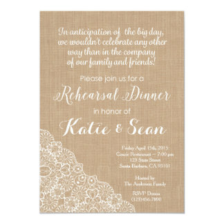 "Rehearsal Dinner Invitation- Burlap and Lace 5"" X 7"" Invitation Card"