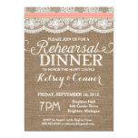Rehearsal Dinner Invitation, Burlap & Lace, Coral Card