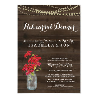 Rehearsal Dinner Invitation | Christmas Poinsettia