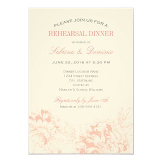 Rehearsal Dinner Invitation | Coral Floral Peony