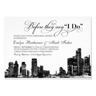"Rehearsal Dinner Invitation | Detroit Skyline 5"" X 7"" Invitation Card"