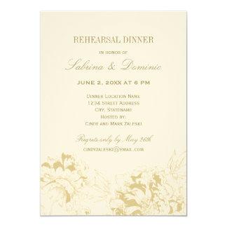 Rehearsal Dinner Invitation   Gold Floral Peony
