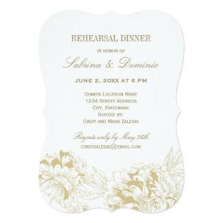 Rehearsal Dinner Invitation | Gold Floral Peony