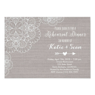 Rehearsal Dinner Invitation Gray Burlap & Lace