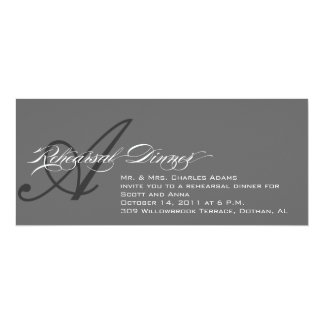 Rehearsal Dinner Invitation Grey Monogram A