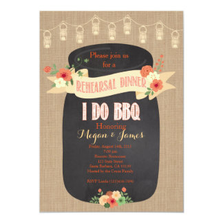 Rehearsal Dinner Invitation. I do BBQ, Mason Jar Card