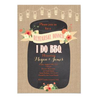 Rehearsal Dinner Invitation. I do BBQ, Mason Jar Card