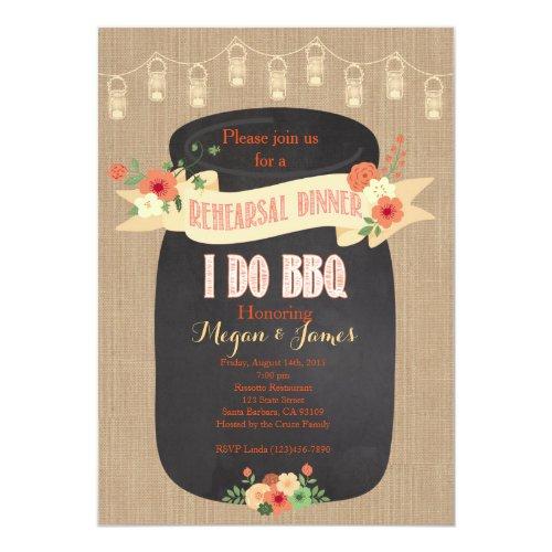 Rehearsal Dinner Invitation I do BBQ Mason Jar Invitation
