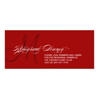 Rehearsal Dinner Invitation Monogram Dark Red