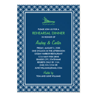 "Rehearsal Dinner Invitation   Navy Nautical Theme 5"" X 7"" Invitation Card"