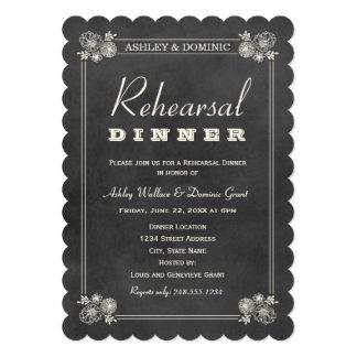 "Rehearsal Dinner Invitations | Black Chalkboard 5"" X 7"" Invitation Card"